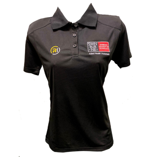Allied Health Assistance  Black Bamboo Polo - Ladies